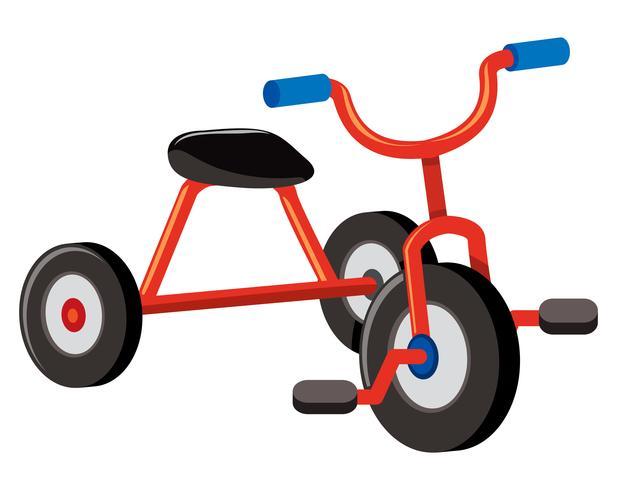 Un triciclo rosso su sfondo bianco