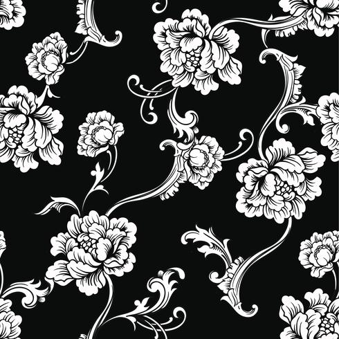 Fabric seamless pattern with baroque ornament. vector