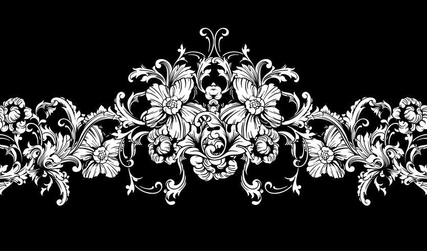 Ornamental border, frame. Baroque pattern. Vector seamless.