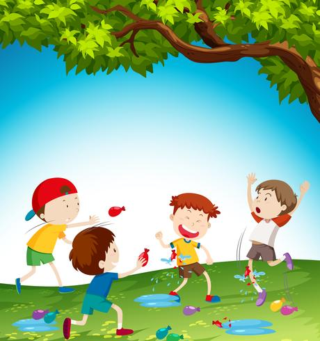 Kids Playing With Water Balloon Download Free Vector Art