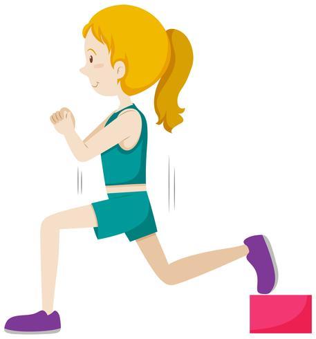 Una chica de entrenamiento con pesas vector