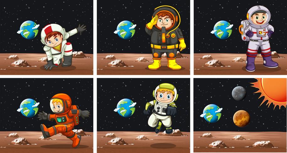 Cinco escenas con astronautas en el espacio.