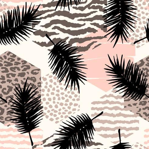 Modello senza cuciture astratto con stampa animale, piante tropicali e forme geometriche.