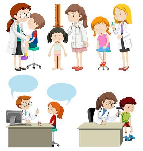Bambini che hanno una assistenza medica dal dottore
