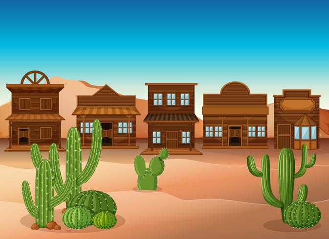 Escena con tiendas y cactus en el desierto.