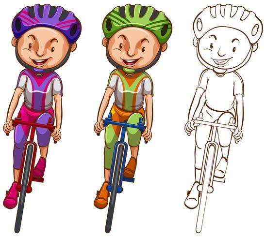 Doodle personaggio per l'uomo in bicicletta
