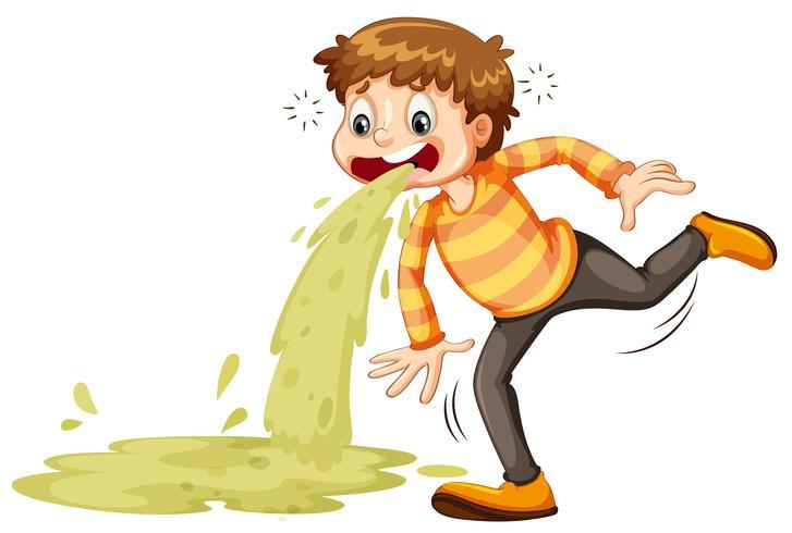 Um menino doente vomitando
