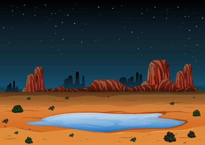 Arizona Landscape at Night Time vector