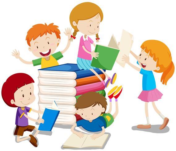 Niños y niñas leyendo libros.
