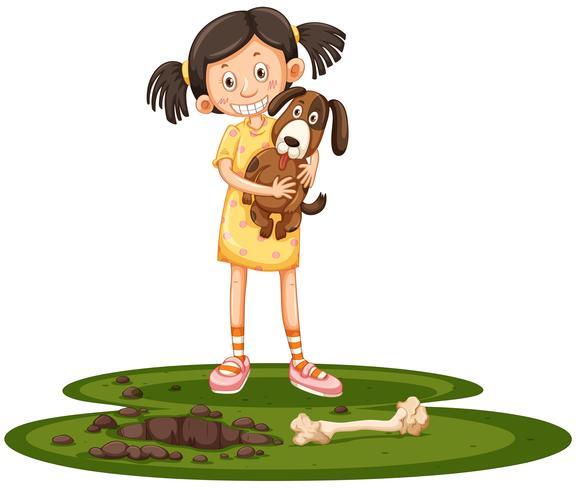 Menina jovem, segurando, dela, cão