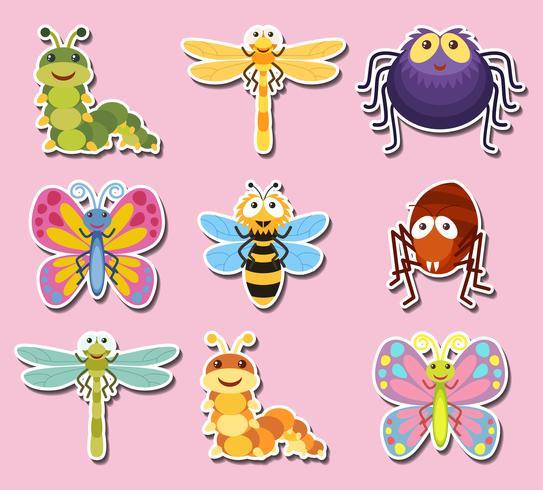 Design adesivo con insetti e insetti carini