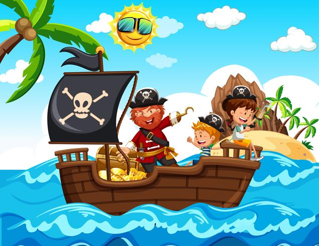 Pirata e crianças no barco vetor