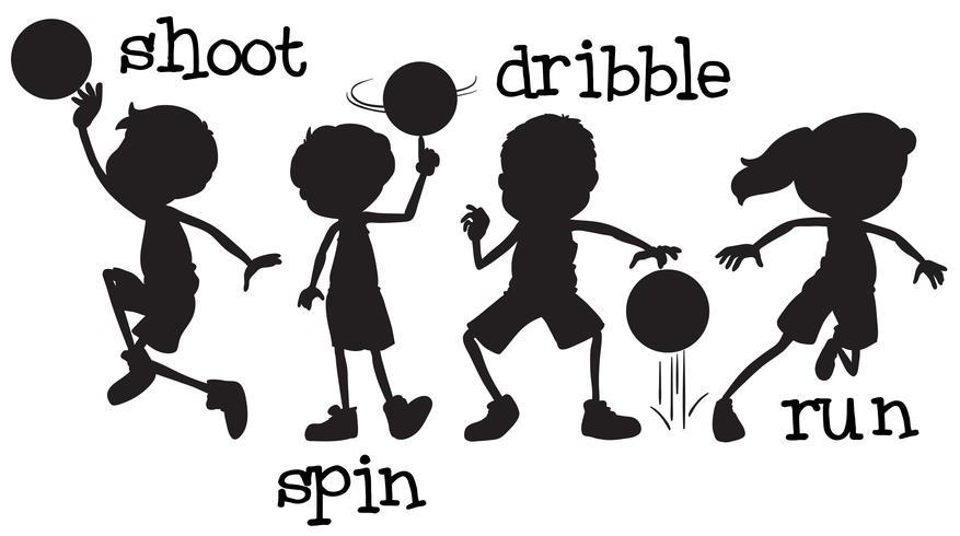 Set di caratteri di pallacanestro silhouette
