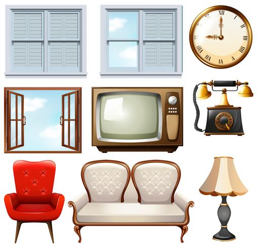 Verschillende vintage meubels op wit