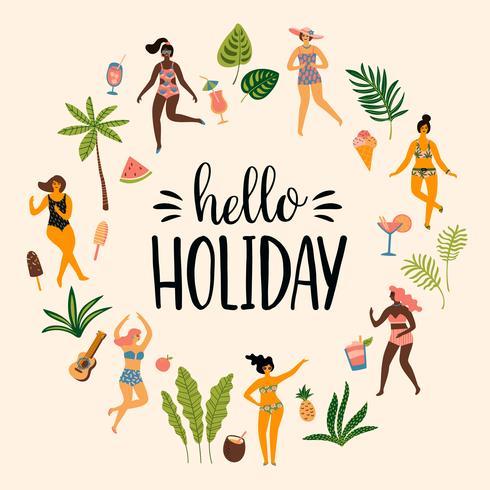 Vektor illustration av dansande damän i baddräkter och tropiska palmblad.
