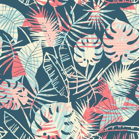 Seamless exotic pattern with tropical plants and geometric background. vector