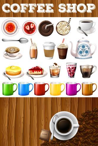 Diferentes tipos de bebidas y postres en cafetería.