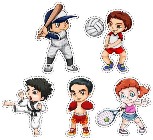Sticker set of kids doing many sports