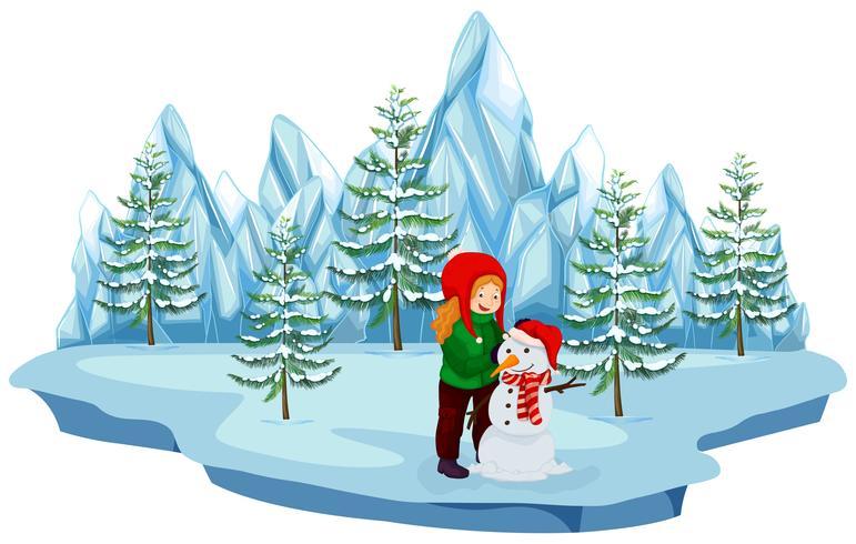 Un pupazzo di neve della costruzione della ragazza su fondo bianco