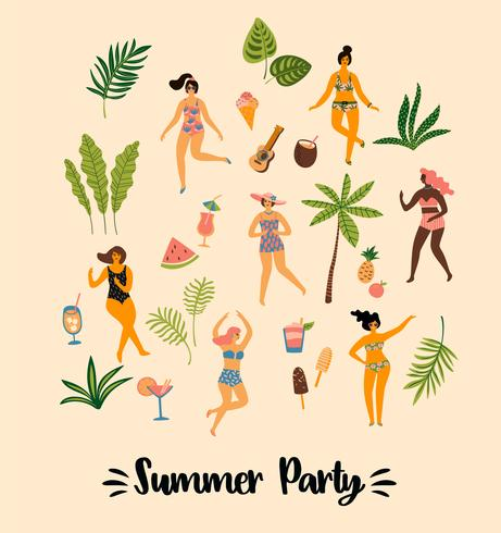 Vectorillustratie van dansende ladyes in zwempakken en tropische palmbladen.