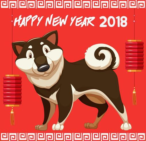 Frohes neues Jahr für 2018 mit niedlichem Hund