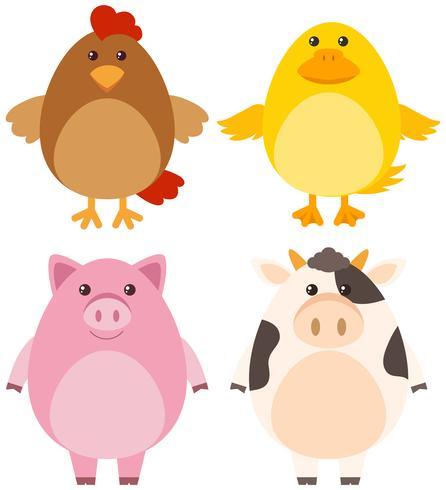 Cuatro tipos diferentes de animales de granja.