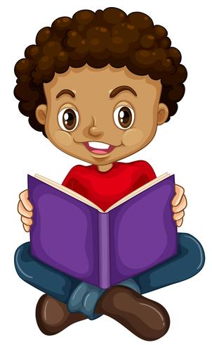 Menino jovem, lendo um livro