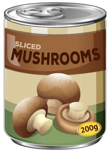 Uma lata de cogumelos fatiados