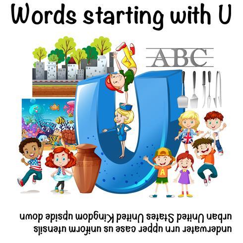 Englisches Arbeitsblatt für Wörter die mit U beginnen