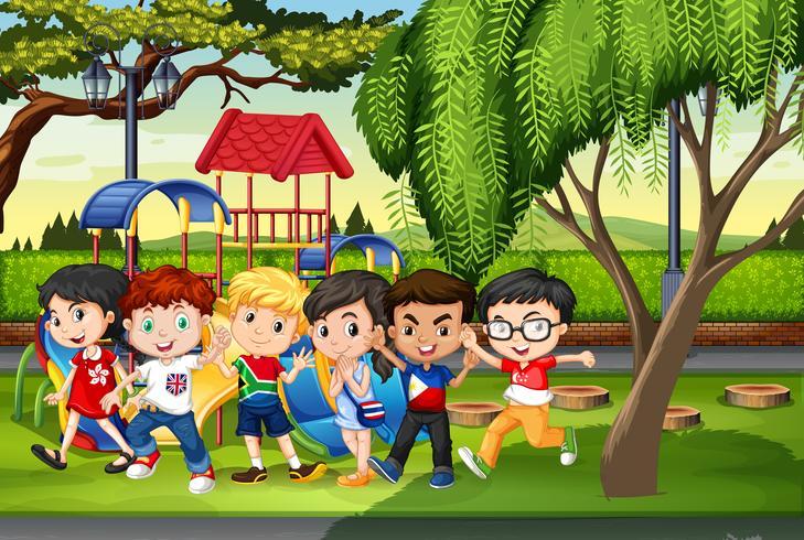 Veel kinderen in het park