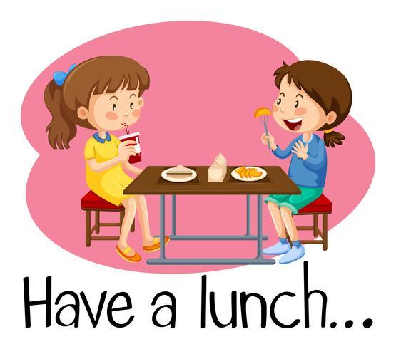 Filles en train de déjeuner à la cafétéria