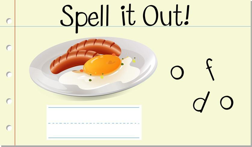 Spell English word food vector