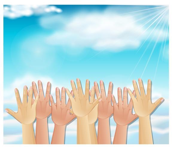 Hand in den Himmel