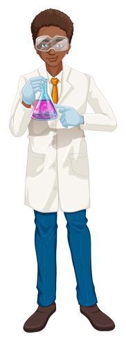 Cientista, em, casaco branco, copo segurando