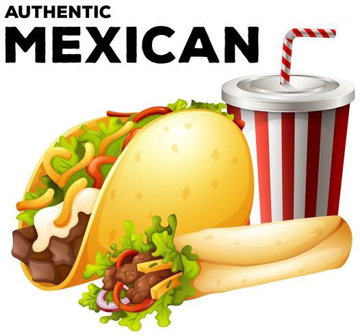 Mexikanisches Essen mit Taco und Burrito