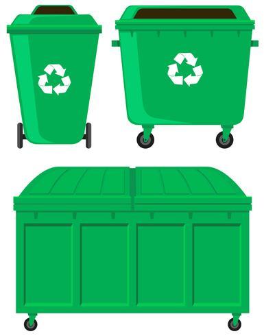 Grüne Mülleimer in drei Ausführungen