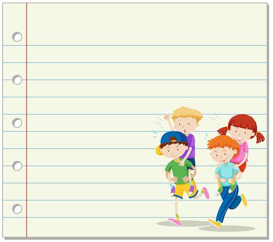 Linea carta con bambini che giocano a cavalluccio in background