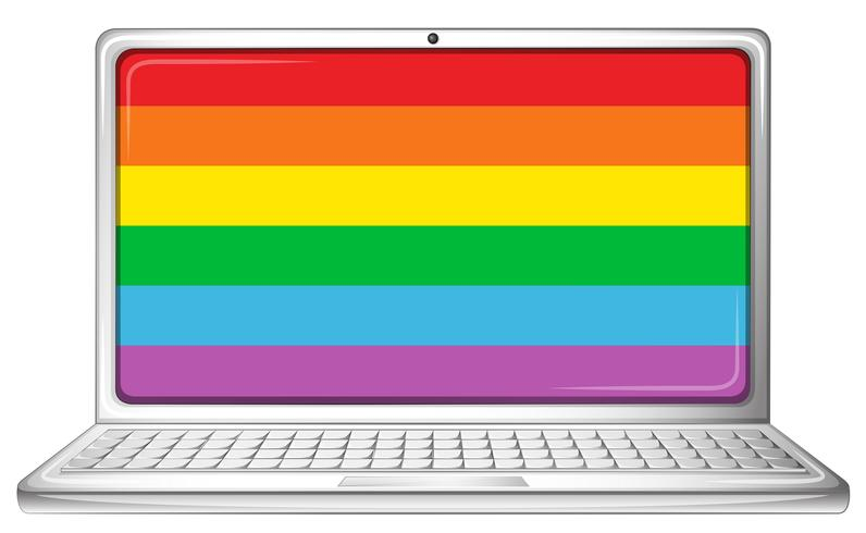 Computer laptop with rainbow screen