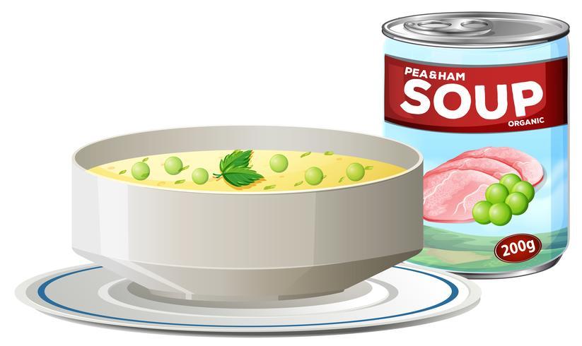 Erbsen-Schinken-Suppe in Dose vektor