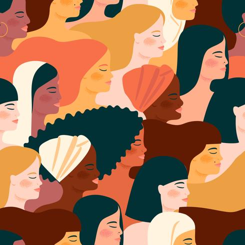 Seamless pattern with with women of different nationalities and cultures for International Women's Day.  vector