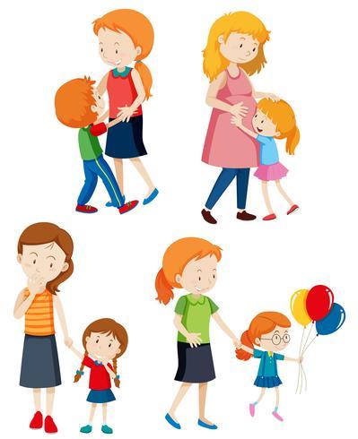 Set von Müttern und Kindern