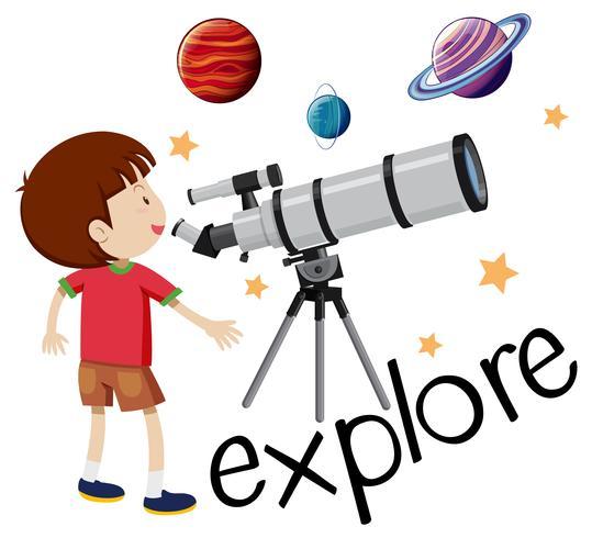 Flashcard para explorar com garoto olhando pelo telescópio