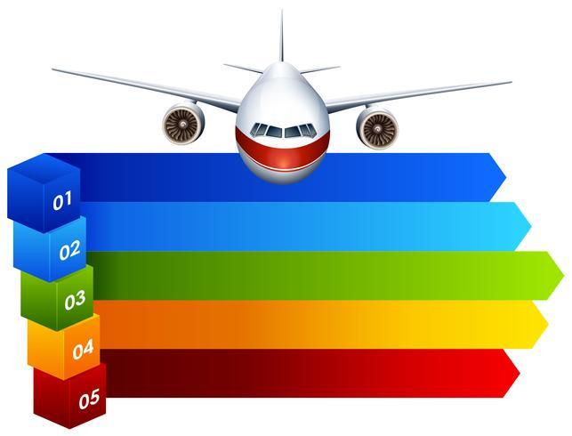 Regenbogen Infographik mit Flugzeug vektor