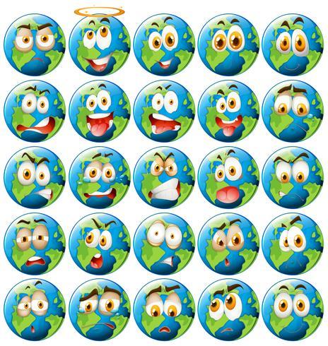 Jorden med ansiktsuttryck vektor