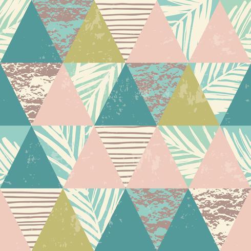 Nahtloses exotisches Muster mit tropischen Anlagen und geometrischem Hintergrund. vektor