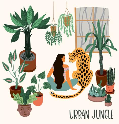 Jungle urbaine. Illustration vectorielle avec décor à la mode. vecteur