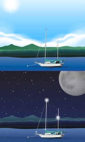 Scène de l'océan avec bateau de pêche