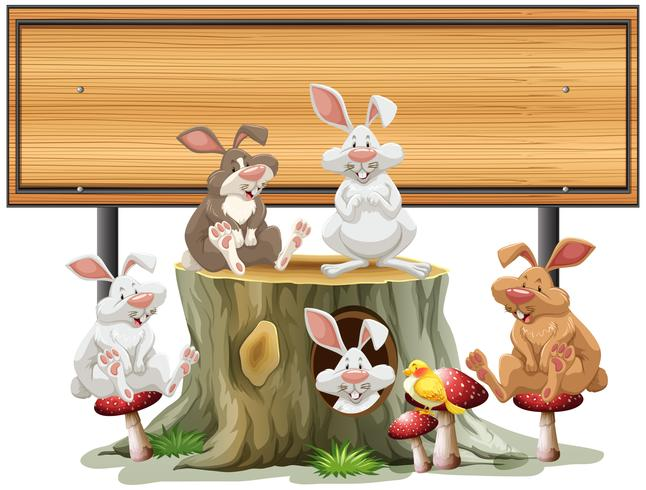 Wodoen-tekensjabloon met veel konijnen vector