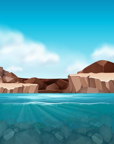 Schöne Felsen- und Wasserszene