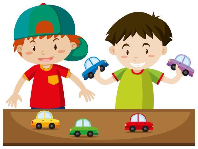 Due ragazzi che giocano con le auto